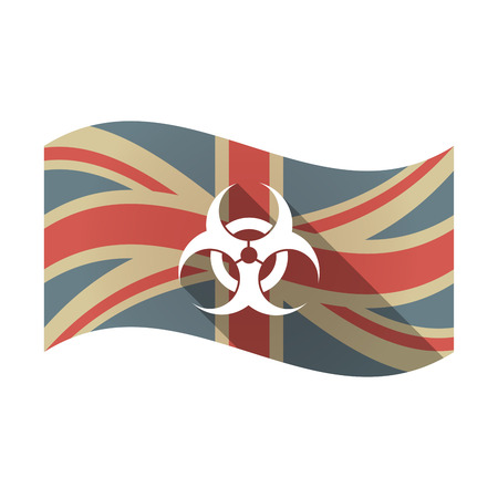 Illustration of an isolated long shadow waving Union Jack United Kingdom flag with a biohazard sign