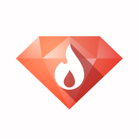 Illustration of an solated diamond icon with a flame Illustration