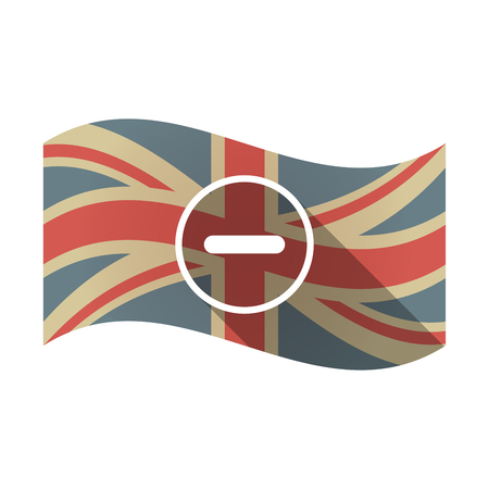 Illustration of an isolated long shadow waving Union Jack United Kingdom flag with a subtraction sign Illustration