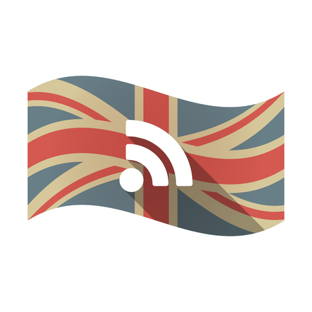 Illustration of an isolated long shadow waving Union Jack United Kingdom flag with an RSS sign Illustration
