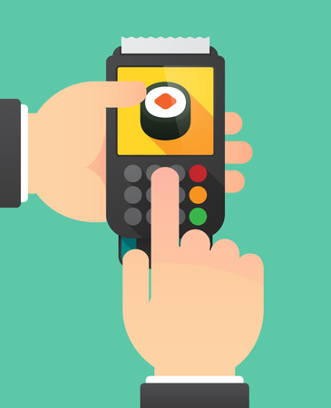 finger fish: Illustration of a person hands using a dataphone with a piece of sushi maki Illustration