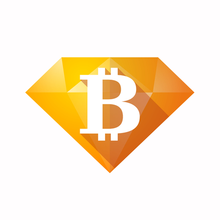 Illustration of an solated diamond icon with a bit coin sign