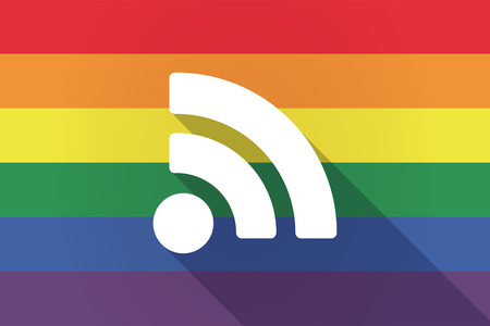 really simple syndication: Illustration of a long shadow lgbt gay pride flag with an RSS sign