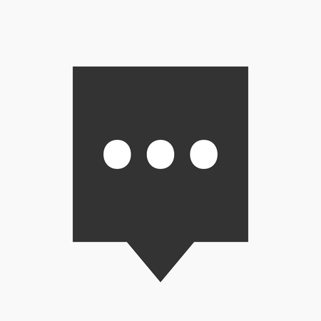 ellipsis: Illustration of an isolated tooltip icon with  an ellipsis orthographic sign