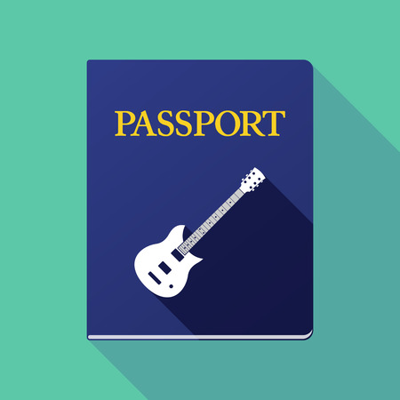 emigration: Illustration of a long shadow passport icon with  an electric guitar