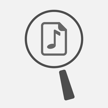 musique partition: Illustration d'un isolé line art loupe icône avec une icône de partition