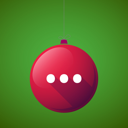 Illustration of a long shadow christmas ball with  an ellipsis orthographic sign