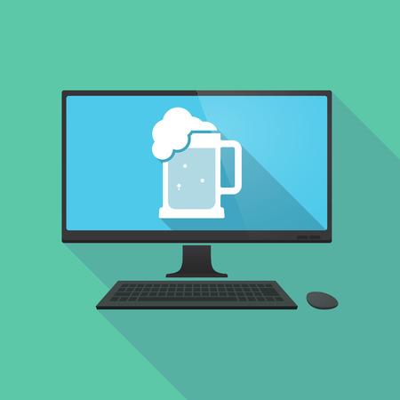 beer jar: Ilustración de una larga sombra pc ordenador personal con un icono de jarra de cerveza Vectores