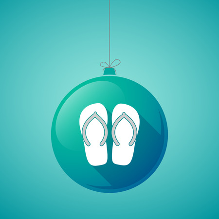 Illustration of a long shadow christmas ball with   a pair of flops