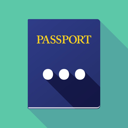 ellipsis: Illustration of a long shadow passport icon with  an ellipsis orthographic sign