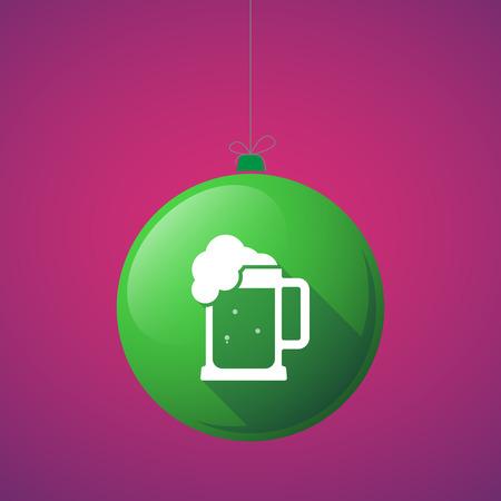 beer jar: Ilustración de una bola de navidad larga sombra con un icono de jarra de cerveza Vectores
