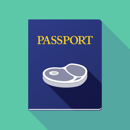 Illustration of a long shadow passport icon with  a steak icon Ilustrace