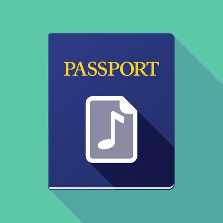 musique partition: Illustration d'un passeport icône longue ombre avec une icône de partition