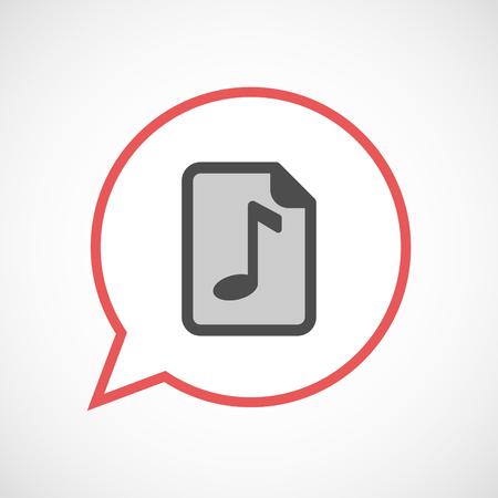 musique partition: Illustration d'un isolé line art comique ballon avec une icône de partition Illustration