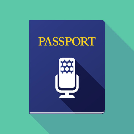 Illustration of a long shadow passport icon with  a microphone sign
