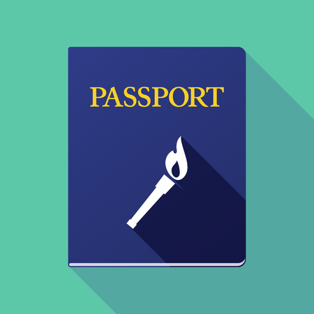 emigration: Illustration of a long shadow passport icon with  a torch icon Illustration