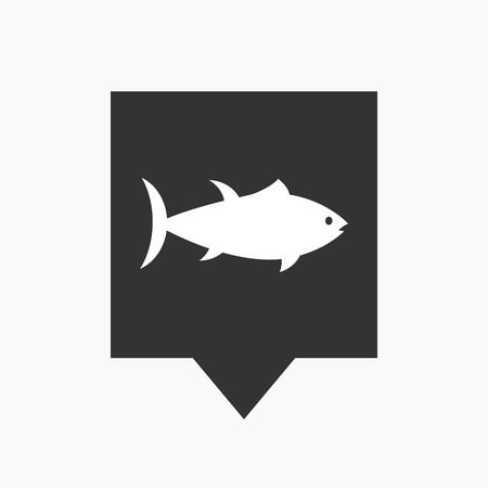 tuna fish: Illustration of an isolated tooltip icon with  a tuna fish Illustration