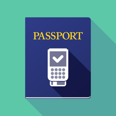 emigration: Illustration of a long shadow passport icon with  a dataphone icon