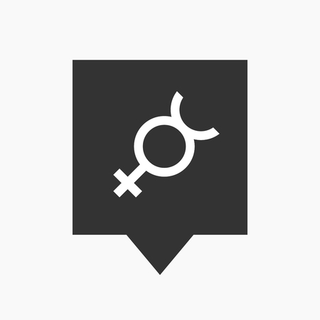 hermaphrodite: Illustration of an isolated tooltip icon with  the mercury planet symbol
