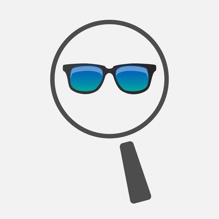 Illustration of an isolated line art magnifier icon with  a sunglasses icon Illustration