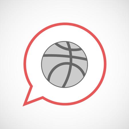 balon de basketball: Illustration of an isolated line art comic balloon with  a basketball ball