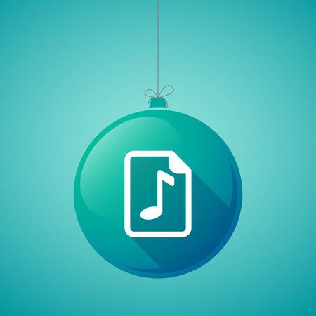 partition musique: Illustration d'une boule de noël longue ombre avec une icône de partition