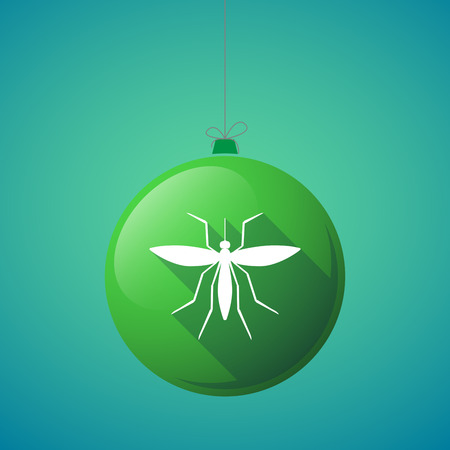 bloodsucker: Illustration of a long shadow christmas ball with  a mosquito