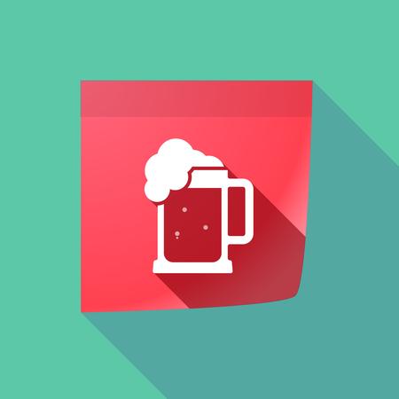 beer jar: Ilustración de un icono de nota adhesiva larga sombra con un icono de jarra de cerveza