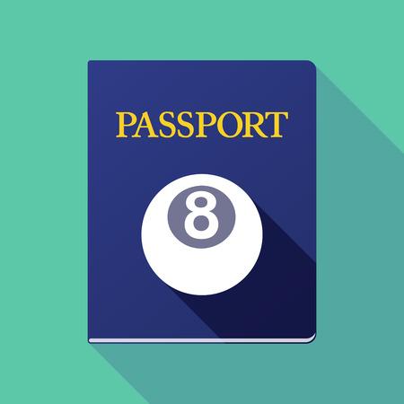 pool ball: Illustration of a long shadow passport icon with  a pool ball Illustration