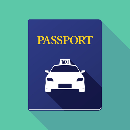 emigration: Illustration of a long shadow passport icon with  a taxi icon