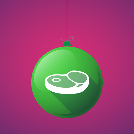Illustration of a long shadow christmas ball with  a steak icon