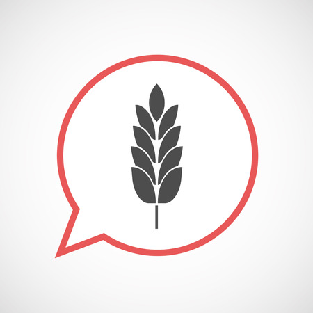 Illustration of an isolated line art comic balloon with  a wheat plant icon Illustration