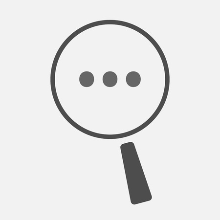 ellipsis: Illustration of an isolated line art magnifier icon with  an ellipsis orthographic sign