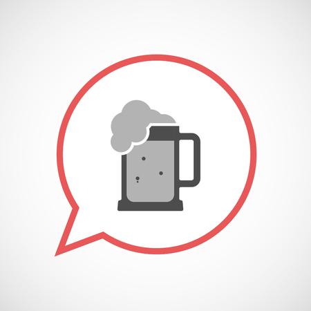 beer jar: Ilustración de un hecho aislado globo de cómic en la línea de arte con un icono de jarra de cerveza
