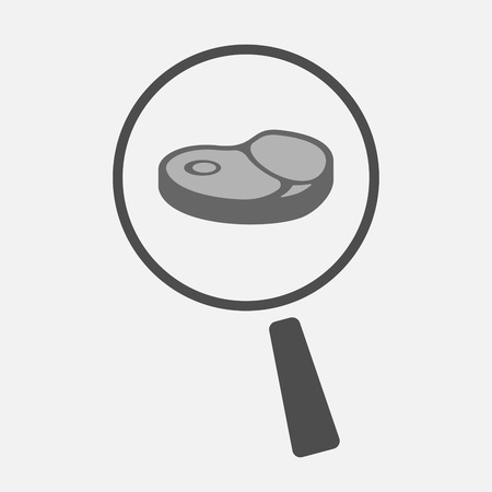 Illustration of an isolated line art magnifier icon with  a steak icon