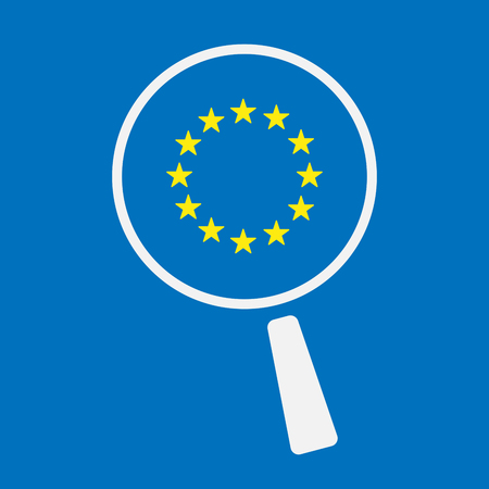 Illustration of an isolated line art magnifier icon with  the EU flag stars