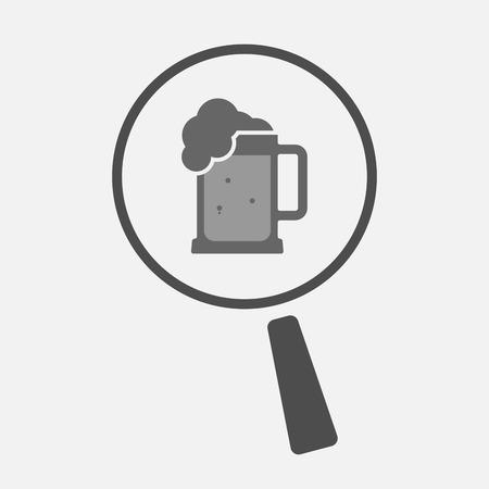 beer jar: Ilustración de un icono de la línea arte aislado lupa con un icono de jarra de cerveza