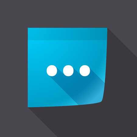 ellipsis: Illustration of a long shadow sticky note icon with  an ellipsis orthographic sign