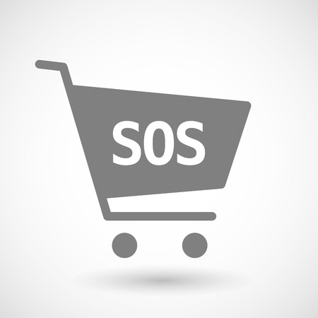 hopping: Illustration of an isolated hopping cart icon with    the text SOS Illustration