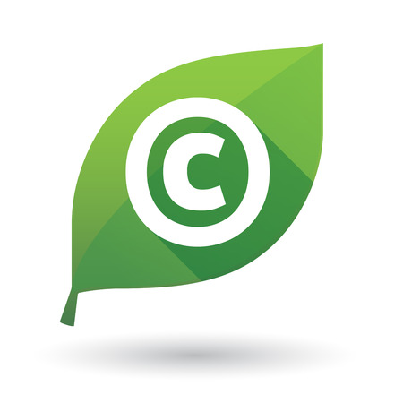 Illustration of an isolated green leaf ecological icon with    the  copyright sign