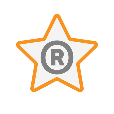 Illustration of an isolated line art star icon with    the registered trademark symbol