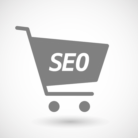 hopping: Illustration of an isolated hopping cart icon with    the text SEO