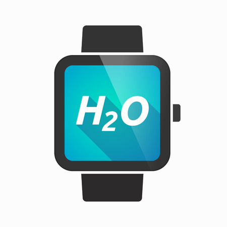 h2o: Illustration of an isolated smart watch icon with    the text H2O