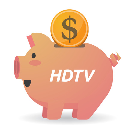 Illustration of a dollar coin entering a piggy bank with    the text HDTV