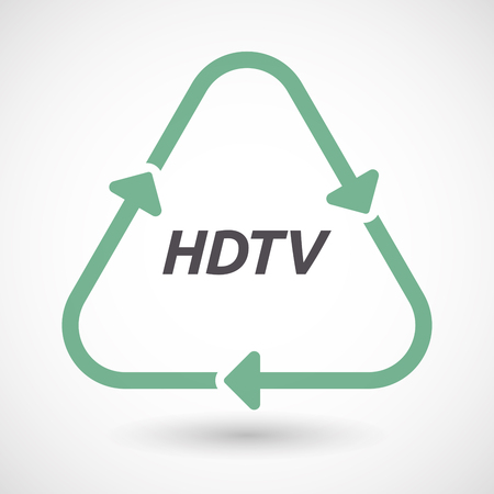 hdtv: Illustration of an isolated green ecological recycle sign with    the text HDTV