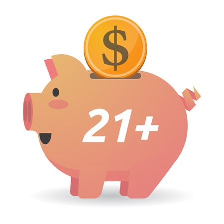 Illustration of a dollar coin entering a piggy bank with    the text 21+