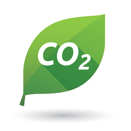 Illustration of an isolated green leaf ecological icon with    the text CO2