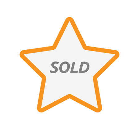 Illustration of an isolated line art star icon with    the text SOLD Illustration