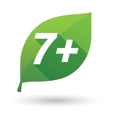 Illustration of an isolated green leaf ecological icon with    the text 7+ Illustration