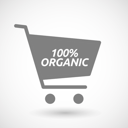 hopping: Illustration of an isolated hopping cart icon with    the text 100% ORGANIC